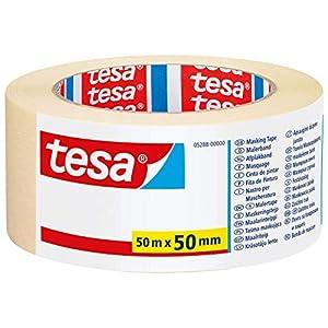 tesa Malerband UNIVERSAL - Vielseitiges Klebeband für Malerarbeiten ohne Lösungsmittel - Bis zu 4 Tage nach Gebrauch rückstandslos entfernbar - Breit, 50 m x 50 mm