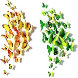 Imbry 72 Stück 3D Schmetterling Aufkleber Wandsticker Wandtattoo Wanddeko für Wohnung, Raumdekoration Klebepunkten+ Magnet (12 Blau + 12 Colour + 12 Grün + 12Gelb + 12 Rosa + 12 Rot) (Schmetterling) - 2