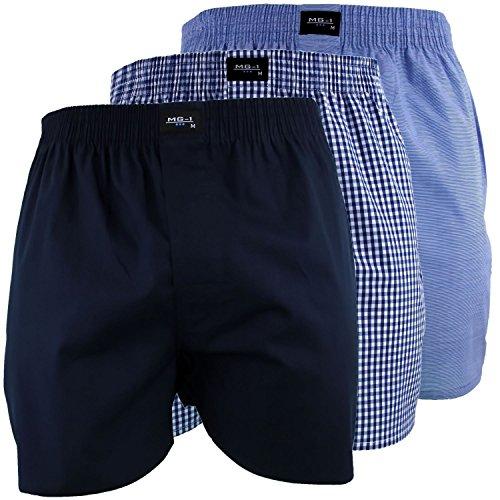 MG-1 3 Stück Webboxer Boxershorts American Shorts Herren Sparpaket S - 6XL Farbwahl, Grösse:XXXL - 9-58, Farbe:Set 8