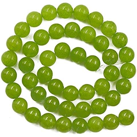 Calce 6 Millimetri Verde Giada Pietra Preziosa Rotonda Perline Sparse Filo 15 Pollici