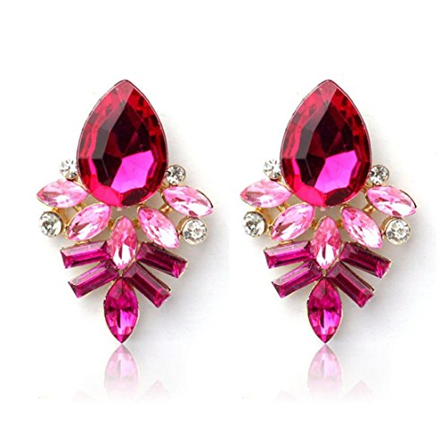 Tonsee 2015 Ohrstecker heißen neue Fashion Women Lady Strass Crystal Drop Legierung Ohrringe (Hot Pink) (Strass Womens Neue)