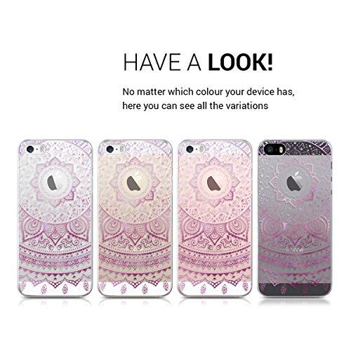 kwmobile ÉTUI EN TPU silicone pour Apple iPhone SE / 5 / 5S Design aluminium brossé or rose transparent. Étui design très stylé en TPU souple de qualité supérieure rose foncé blanc transparent IDS