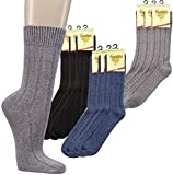 3er PACK Warme Socken mit Bambus für Damen und Herren. (43-46, schwarz)