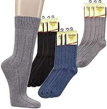 3er PACK Warme Socken mit Bambus für Damen und Herren. (35-38, anthrazitmouline)