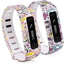kwmobile 2in1 Set: 2x Sport Ersatzarmband für Fitbit One - Silikon Armband mit Verschluss ohne Tracker Blumen Punkte Mehrfarbig Pink Weiß, Flower Power Mehrfarbig Pink Weiß - Innenmaße: ca. 13 - 20 cm