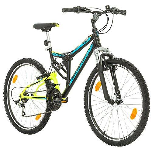 """Bikesport Parallax 26"""" Bicicletta Biammortizzata Doppia Sospensione (Nero Neon Green)"""