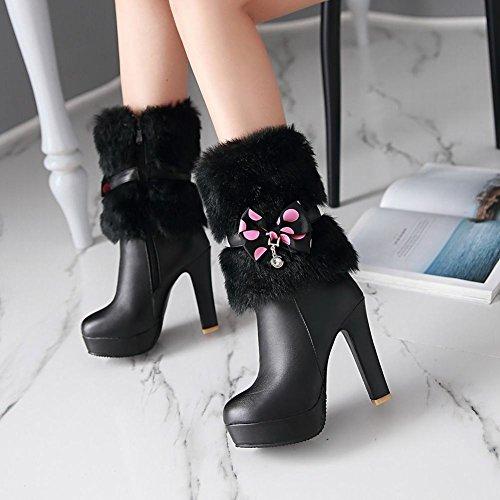 Mee Shoes Damen Plateau Pompon mit Schleife high heels Stiefel Schwarz