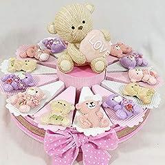 Idea Regalo - Sindy Bomboniere Regali di Nascita Bambina, Gadget per Festa di Compleanno Femmina, Orsetto Magnete Love con Confetti cioccolatini