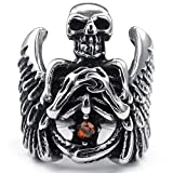 Gnzoe Bijoux,Hommes Acier inoxydable Anneaux Bandes, Punk Gothique Angel Wing Skull CZ Bague Silver Rough Taille 56.5