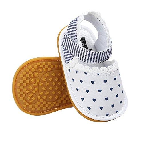 La Vogue-Bambini Scarpe Cotone Estate Casuale Sandali con Stampa Primi Passi Scarpine Bianco