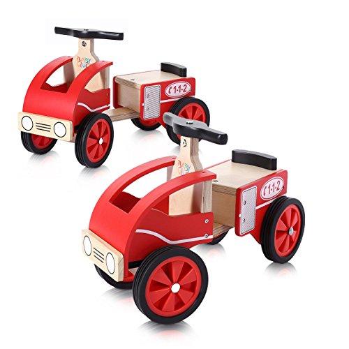 *Baby Vivo Rutscher Rutschauto Rutscherfahrzeug Kinderauto Kinderrutscher Kinder Auto aus Holz Feuerwehr ab 18 Monaten – Sammy*