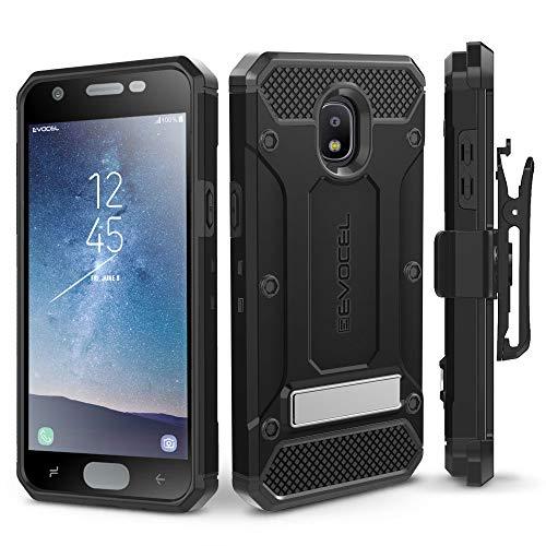 Galaxy J32018Fall, evocel [Explorer Pro-Serie] mit Glas Displayschutzfolie und Metallständer für Samsung Galaxy J32018(sm-j337)/Express Prime 3/Erreichen/Star, schwarz - T-mobile Telefono
