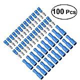 WINOMO 100pcs Cosse Electrique Cylindriques Bleu Cosse Isolées (50 Mâle et 50 Femelles)