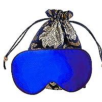 YANIBEST Adjustable Natural Silk Eye Mask for Sleeping Blindfold Sleep Masks for Travel Men Women (Blue)