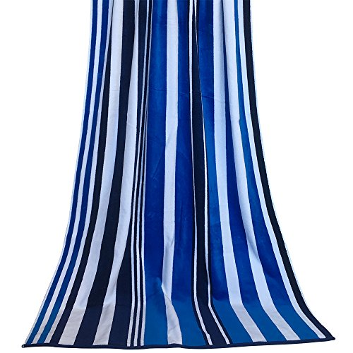 """JEANNE 100% Cotton Oversized Quick Dry and Soft Cabana Striped Beach Bath Towel 35.4""""x70.8"""""""