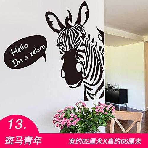 3D Stereo Wandaufkleber Aufkleber Persönlichkeit Nordic Tapete Europäischen Schlafzimmer Nacht Schlafzimmer Kreative Dekoration Selbstklebende Tapete 13. Zebra Jugend -