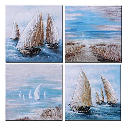 Sumeru Boote Gemälde Leinwandbild Abstrakte Kunst Seascape Kunstwerke für Home Living Schlafzimmer Büro Dekoration, 1Stück, gedehnt und gerahmt Weiß