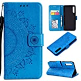 HTDELEC Galaxy A7 2018 Hülle, Ultra Slim Flip Hülle Blau Etui mit Kartensteckplatz und Magnetverschluss Leder Wallet Klapphülle Book Case Bumper Tasche für Samsung Galaxy A7 2018(T-Blau)
