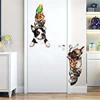HEETEY 3D DIY Pet Family Home Wall Sticker Removable Mural Decals Kids Room Bedroom Decor Living Room Decor Stickers Wal DIY Fashion Design
