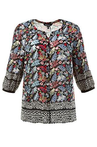 Ulla Popken Femme Grandes tailles Blouse tendance imprimé feuilles coupe relaxed col rond boutons manches ¾ 710351 Multicolore