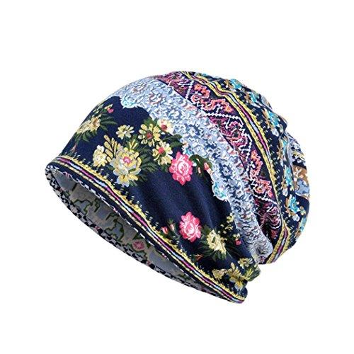 Resplend Bandana Cap Unisex Print Hut Beiläufig Baumwolle Kragen Turban Rüsche Krebs Hat Mütze Schal Kopf Wickeln Kappe (B Blau) -