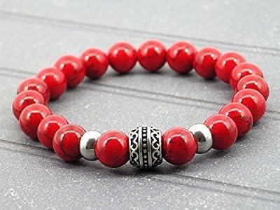 Bracelet pour homme de la gamme Oriental Sun en acier et turquoise rouge
