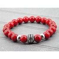 Pulsera para hombre de la gama Oriental Sun en acero y rojo turquesa