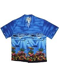 KY´s| Chemise Hawaïenne D'Origine | Pour Hommes | S - 3XL | Manche Courte | Poche Avant | Hawaiian-Imprimer | Dauphins Poissons | Bleu