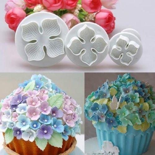Whyyudan 3pcs ortensia fiore a forma di torta del fondente biscotto stantuffo muffa muffa cutter Tools