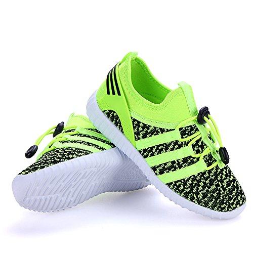 JTENGYAO Jungen Mädchen Nylon-Schnürsenkel Laufschuhe Sportschuhe Turnschuhe für Kind Grün 2