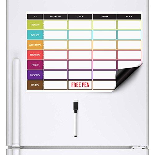 CKB Ltd® Meal Diet Planner | Food Prep Nutrition Fitness Week Magnet Board für Kühlschrank-Board magnetisch mit Marker Drywipe A3 Whiteboard Schwarz Kitchen Weekly Daily Ideal für Familienplanung