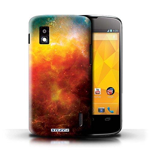 Kobalt® Imprimé Etui / Coque pour LG Nexus 4/E960 / Nébuleuse Verte conception / Série Cosmos Nébuleuse Orange