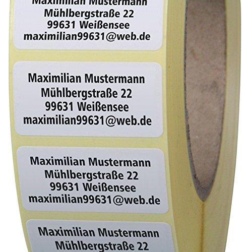 Adressetiketten mit Wunschdruck 100 Stück 40 x 20 mm Haftpapier weiß
