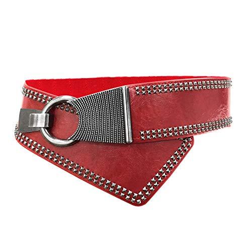 TY belt Damen Mädchen Rivet Nieten Oblique Schnalle Verstellbare Elastische Breite Gürtel (One size, rot) -