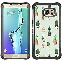 STPlus Patrón de flor del cactus Carcasa Funda de Caucho Blando A Prueba de Choques Para Samsung Galaxy S6 Edge Plus