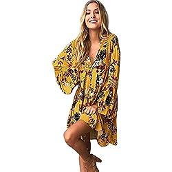 Fannyfuny_Mujer Vestidos Verano Ropa Mujer Falda Corta Vestidos Casual Falda Vestido Fiesta Largo Mangas Larga de Escotado por Detrás Maxi Vestidos Boho Chic de Noche Playa Vacaciones