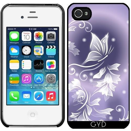 Leder Flip Case Tasche Hülle für Apple iPhone 5C - Lila Blumen Schmetterling by Nina Baydur Starre Kunststoff