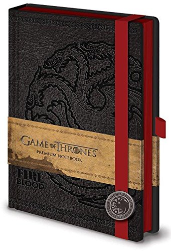 Game of Thrones (Targaryen) Premium A5 Notebook con penna stilo set regalo. Lussuoso quaderno in pelle con 120 pagine con motivo sigillo di Targaryen. Con penna stilo e sacchetto di velluto.
