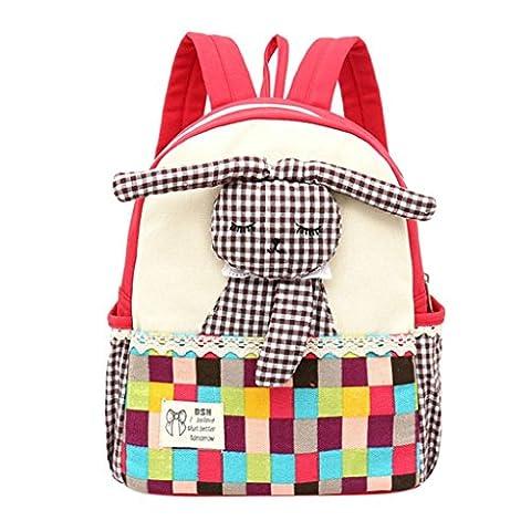 Masrin Cute Baby Girls Kids Rabbit Pattern Plaid Animals Backpack Toddler School Bag Fashion (Red)