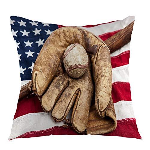 funny cat Amerikanische Flagge Wurfkissenbezüge mit Baseballhandschuh Retro Home Dekorative Kissenbezug Platz Kissenbezug für Schlafsofa Stuhl Couch Dekoration Braun Blau Weiß Rot , 45X45 cm
