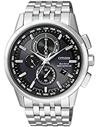 Citizen Herren-Armbanduhr RADIO CONTROLLED Chronograph Quarz Edelstahl AT8110-61E