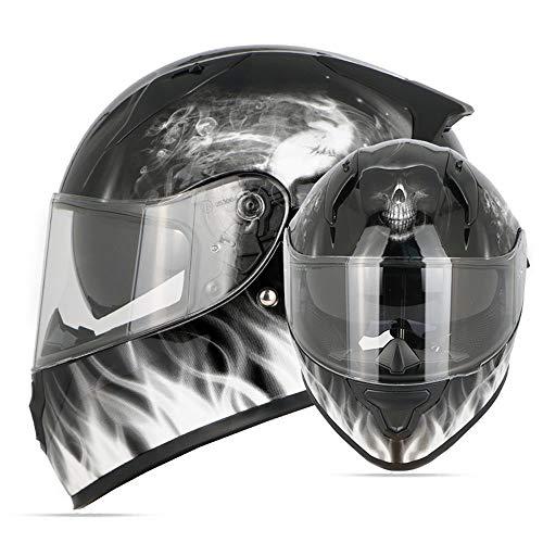 QRY Schädel Flamme HD Doppel Objektiv Vier Jahreszeiten Universal Full Cover Helm Outdoor Sports Motorrad Reiten Full Helm ABS (Abnehmbarer Schal) Glückliches Leben (Size : XL)