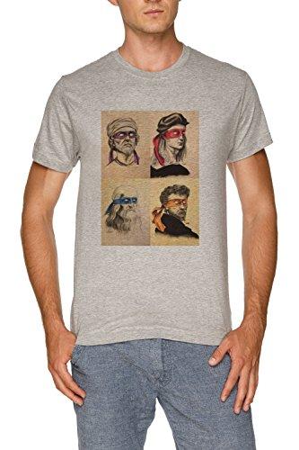 (TMNT wie Echt Masters Herren Grau T-Shirt Größe XXL | Men's Grey T-Shirt Size XXL)