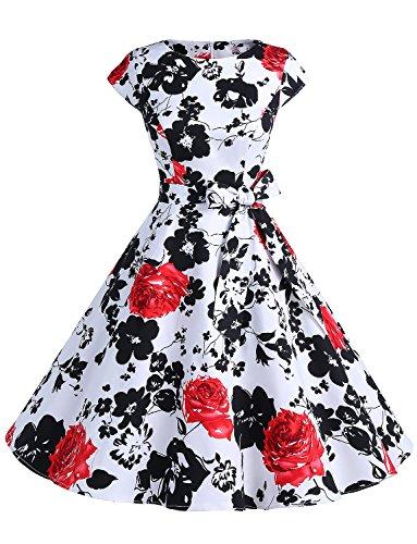 Blumen-kleid (Dressystar Damen Vintage 50er Cap Sleeves Dot Einfarbig Rockabilly Swing Kleider Rot Blume M)