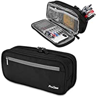 ProCase Large Capacity Pencil Case Big Pen Bag Pouch with Compartments, for Boys School Students Adults Office –Black