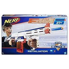 Idea Regalo - Hasbro Nerf Nerf - Blaster Retaliator Elite Arma, Portata fino a 20 m, Imballaggio Apertura Facile, Bianco/ Arancione