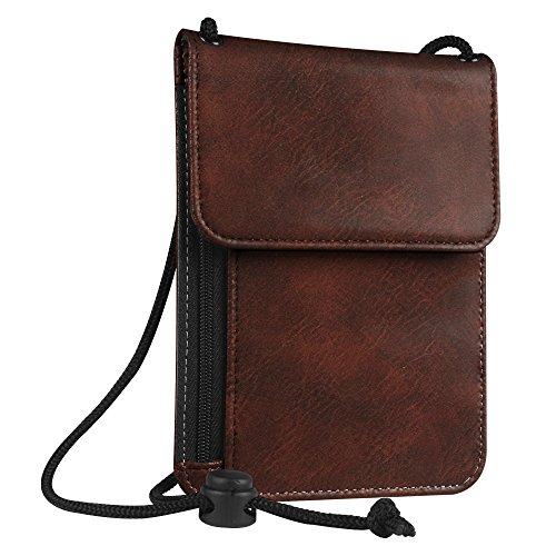 Fintie Pasaporte Funda Cartera Portadocumentos de cuello - Cuero PU Porta Pasaporte de con Protección RFID, Dark Brown