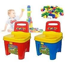 Sediolina costruzioni in plastica colorate contenitore a forma di sedia 114237. MWS