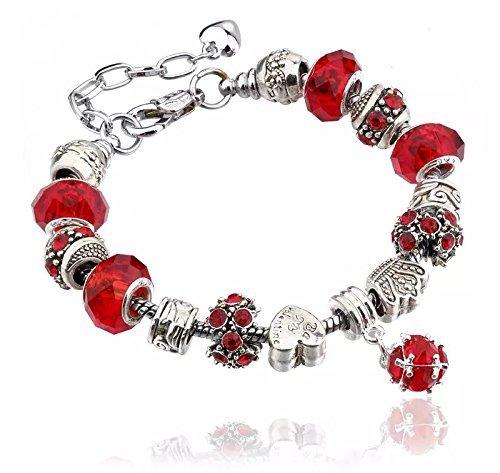 Bracciale in argento per ciondoli con perline in vetro di murano, stile europeo, 20 cm, compatibile con charm pandora e argento, colore: 10 red, cod. 10red