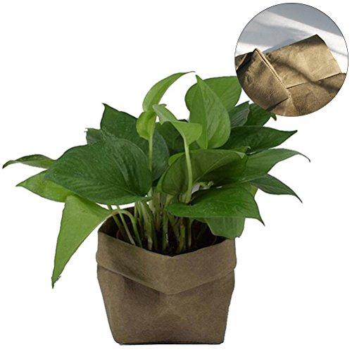 OUNONA Lavable Papier Kraft Conteneur Décoratif Papier Réutilisable Sac Organisateur Flowerpot Cover Toy pour la décoration et le stockage Taille S (vert noir)